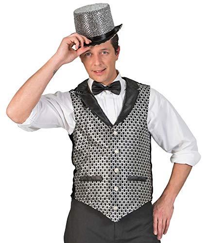 Funny Fashion Herren Show Glitzer Weste Laurin - Silber Gr. - Silber Gangster Kostüm