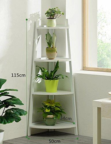 ZCJB Etagères de plantes Coin De Sol Coin De Fleurs Bois Massif Intérieur Bambou Multi-couche Balcon Salon Fleur Pot Pot Rack Scindapsus Fleur Étagère ( Couleur : Blanc , taille : Height 115cm )