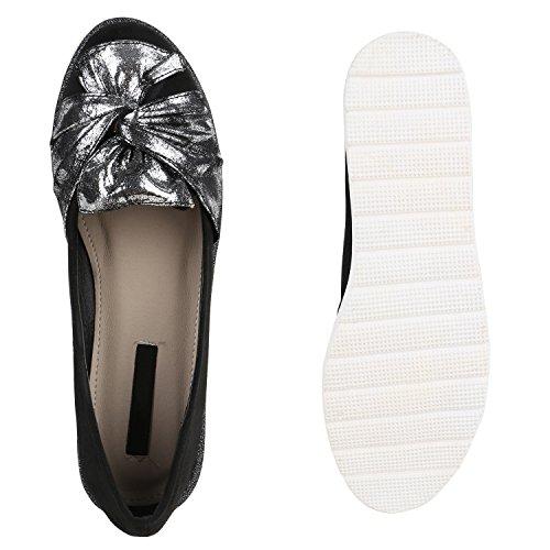 Damen Slipper Loafers Schleifen Glitzer Flats Profilsohle Schuhe Schwarz