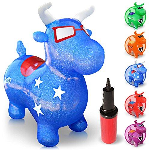 WALIKI SPIELZEUGE HÜPFPFERD GESCHÄFTLICH BENNY (Aufblasbares Tierhüpfer, Hüpfttier, Reitepferd für Kinder, Blau, Luftpumpe inklusive)