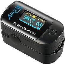 Oxímetro de Pulso con Función de Alarma, APULSE Digital Pulsioxímetro de Dedo Pulsómetro con adaptación por infrarrojos óptica, Medidor de Oxígeno en Sangre SpO2 et PI, Pantalla OLED, Aaprobado por CE y FDA (Negro)