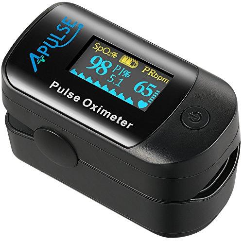 Oxímetro de Pulso APULSE Pulsioxímetro de Dedo Oxímetro Pulsómetro Digital, Medidor de...