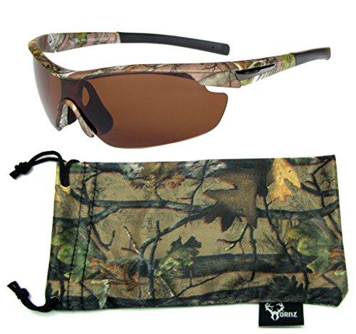 Hornz Forrest braun Camouflage polarisierten Sonnenbrillen für Männer um Sport Rahmen & freie passende Beutel aus Mikrofaser - Braun Camo Rahmen - Bernstein Objektiv