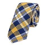 DonDon Herren Krawatte 6 cm kariert gestreift gelb-dunkelblau
