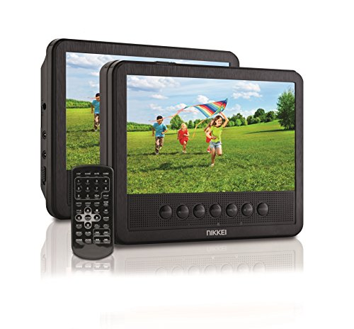 NIKKEI NPD710T-Tragbarer DVD-Player mit 2 Bildschirme 7 / DVD Player Tragbar | 2,8 cm (7 Zoll) | USB, 12 V Adapter | Fernbedienung | Akku - Schwarz