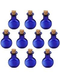 10pcs Los Mini Frascos Botellas De Vidrio Viales Colgante Botella Con Corcho Plano Y Redondo