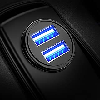 DIVI Auto Ladegerät, Mini Zigarettenanzünder USB Ladegerät 12V/ 24V KFZ Ladegerät 2-Port 24W/ 4.8A mit Aluminium-Legierung Gehäuse für iPhone XR/Xs Max, Samsung Galaxy S8, Huawei Und mehr (Schwarz)