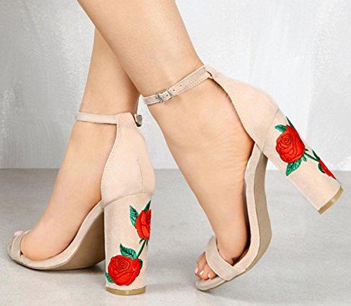 HYLM I pantaloni femminili dei sandali di ricamati con i sandali degli alti talloni Vestito da cerimonia nuziale dei pattini di cerimonia nuziale Grandi formato 34-43 nude