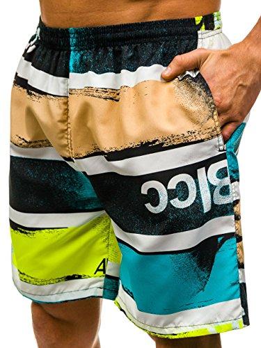 BOLF Herren Badehose Shorts Bermudas Kurzhose Fitness Sporthose Print Motiv Fitness Sport Wasser Sommer Men's Slim Moderm New Style Mix Mehrfarbig_H_Y719C