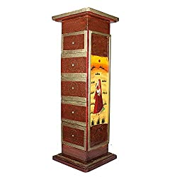 APKAMART Hand Crafted Wooden Side Corner Pillar cum Cabinet - 36 Inch Height - Handicraft Showpiece & Utility Article for Home Dcor