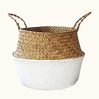 Woven Flower Pots,Hand-Woven Foldable Plant Flower Pot Home Storage Organisation,Natural Seagrass Woven Basket Toy Storage Basket,Wovening Laundry Basket Handcraft Weave Belly Basket Handle