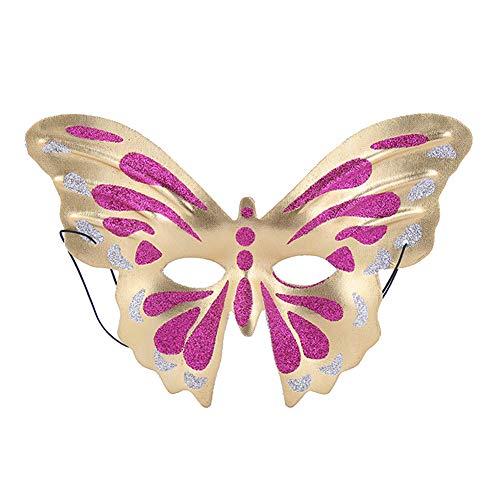 Ruikey Venezianische Maske,Schmetterling Form Maskerade Maske für Damen - rotes Gold (Venezianische Maske Schmetterling)