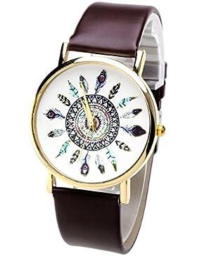 Better Dealz Damen Lässig Armbanduhr Feder Blatt Indianerstamm-Stil Quarzuhr aus Leichtmetall Lederarmband Analoge...