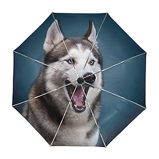 ALAZA Netter Husky-Hund Regenschirm Reise Auto Öffnen Schließen UV-Schutz-windundurchlässiges Leichtes Regenschirm