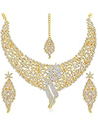 Asmitta Appealing Gold Plated Necklace Set With Mangtikka For Women