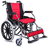 ACEDA Transport Wheelchair With Lightweight Thick Steel Frame,12.5Kg Folding Chair Is Portable,Front And Rear Brake,Seat Width 43Cm,Pedal Height Adjustable,Red