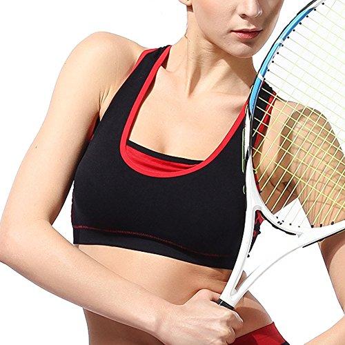 DELEY Femmes Gym Exercice Yoga Jogging Athlétique Confort Liberté Sans Couture Soutien-Gorge De Sport Débardeur Noir