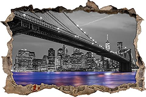 great Brooklyn Bidge overlooking city black / white wall breakthrough in 3D look, wall or door sticker format: 92x62cm, wall stickers, wall sticker, wall decoration