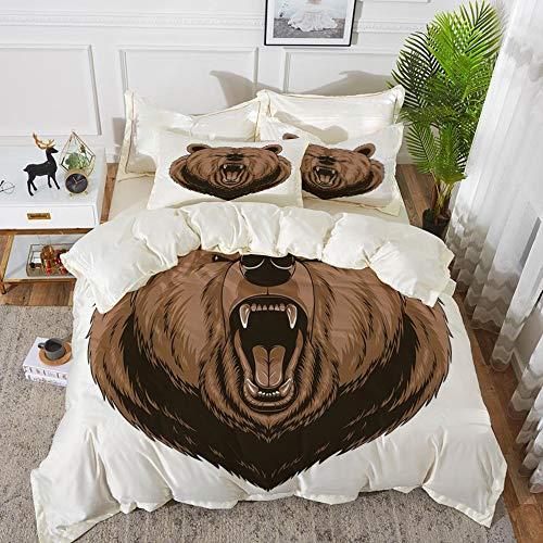 rofaser, Bär, böse gruseliges Gesicht Maskottchen Kopf mächtige bösartige Bestie Cartoon Maskottchen mit Zähnen, Karamell dunk,1 Bettbezug 240 x 260cm + 2 Kopfkissenbezug 80x80cm ()