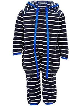 Minymo weicher warmer Baby Fleece Overall mit blauen Doppel Reißverschluss