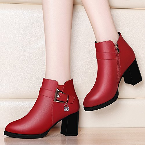 Ajunr-Scarpe Da Donna Alla Moda Testa Rotonda 7Cm High-Heeled Stivali In Autunno La Nuova Ventola Water-English Martin Stivali Red Donne Singoli Pattini 37 36