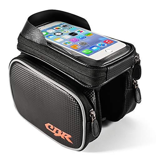 ZOTO Rahmentaschen, Wasserdicht Fahrrad Rahmentasche, Fahrrad Handy Tasche Handytasche, Top Tube Fahrradtasche Rahmentasche bis zu 6,3 Zoll(Black)