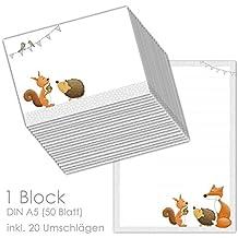 """Briefpapier / Briefblock """"WALDTIERE DIN A5 (liniert 50 Blatt) inklusive 20 passenden Umschlägen / für Briefpapier Set, Briefpapier Kinder,"""