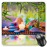 BGLKCS Spa Mouse Pad Tapis De Souris, Stones with Candles Spiritual Eastern Yoga Relaxation Meditation Chakra Bamboos Print, Standard Size Rectangle Non-Slip Rubber Mousepad, Multicolor