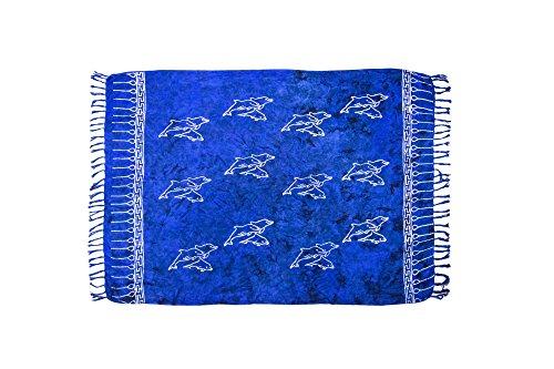 | Pareo Strandtuch | Leichtes Wickeltuch in dunkel-blau mit Delfin-Motiv mit Fransen-Quasten 115x155 cm (Zwei Ton-fransen)