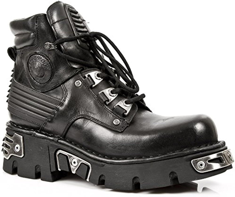 Schwarze New Rock Die Hälfte Stiefel Mit Schnürung und Reactorsole M.924 S
