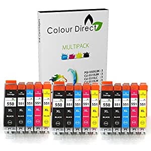 15 XL Colour Direct Compatible Ink Cartridges Replacement For Canon CLI-551XL / PGI-550XL Pixma MG5450 MG5550 MG5650 MG6350 MG6450 MG6600 MG6650 MX925 MX725 MG7150 MG7550 iP7250 iP7200 iP8750 iX6850 Printers. 3 X Big Black 3 X Black 3 X Cyan 3 X Magenta 3 X Yellow