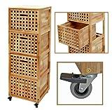 Roll Regal Kommode Rollcontainer 4 Schubladen Badregal Bad Schrank Regal auf Rollen aus massivem Walnuss Holz