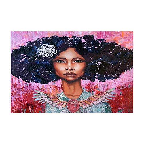 JoneAJ Afro-Afroamerikaner-Schwarze Mädchen-Badeteppiche Aquarell-Schwarze Haar-angesagte Knall-Frau-Dame Shower Mat Fußmatte 15.7X23.6in für Inneneinrichtungen Badezimmer-Boden-Teppich (Salbei Grün-teppich)
