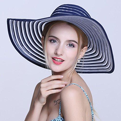 Le long de la visière, maximum de l'écran solaire femelle hat escapades d'été Beach Resort Stetson cool summer beach cap peut être plié, M (56-58cm) gris M (56-58cm) bleu foncé