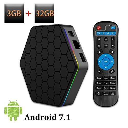 Weily Box TV Android 7.1 T95Z Plus avec Lecteur Multimédia Android 3 Go de RAM 32 Go de ROM Support Amlogic Octa Core Media Résolution 4K 2,4 G/5 G Double Wifi 1000M LAN BT 4.0