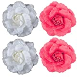 Majik Hair Decorations Flowers (2 Red+ 2 White)