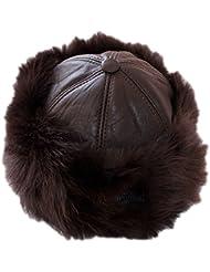 Dazoriginal Cosaco ruso Gorro Ruso Sombrero de las señoras Estilo de Rusia Gorra 100% Cuero para las Mujeres Esquí Gorra Sombrero de las mujeres para el invierno Gorro de aviador para Mujer Marron