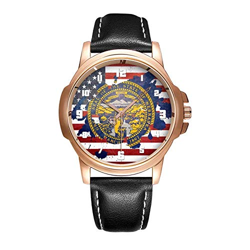 serdichte Herren-Armbanduhr Analoges Quarzlederband Mit Gold-514.A Splash of Nebraska Weathered State Flag Number Wrist Watches ()