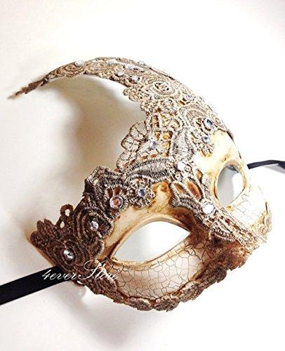 BeyondGlobalCorp Neu. Toga Party Special–Venezianischen Göttin Masquerade Maske Hergestellt aus Kunstharz, Papier Pappmaché Technik mit Hoher Fashion Makramee Spitze und Strass [Elfenbein] by
