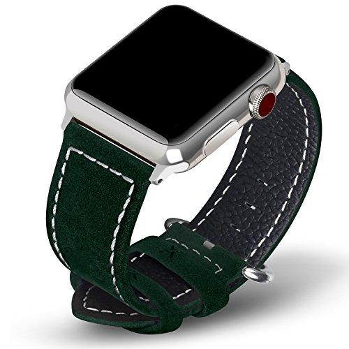9 colori per cinturino apple watch 42mm,fullmosa®mosa pelle cinturino/cinturini di ricambio apple watch band/strap/orologio/bracciale apple watch series 3, iwatch series 3, series 2, series 1, edizione 2015 2019 2017, verde scuro