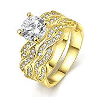 YAZILIND Elegant Jewelry Shiny Wave Shape White Cubic Zirconia Gold Plated Rings for Women the Couple Size 6