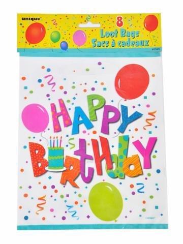 tytüten 8 Stk. für Geburtstagspartys Happy Birthday weiß mit Ballons (Weiße Beute Beutel)