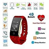 HIXGB Fitness Armband,Fitness-Uhr mit Pulsmesser, Aktivitätstracker,Whatsapp,Schlaf-Monitor,Wasserdicht,Foto,Pedometer Smartwatch Für Kinder,Frauen,Männer,Red