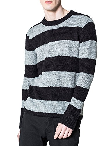 Cheap Monday Men's Caught Knit Wide Stripe Men's Pullover In Size L Striped