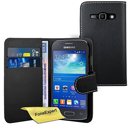 FoneExpert® Samsung Galaxy Ace 3 - Etui Housse Coque en Cuir Portefeuille Wallet Case Cover pour Samsung Galaxy Ace 3 s7272 s7270 + Film de Protection d'Ecran (Noir)