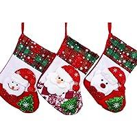 3 Pezzi Regalo di Natale Calze Xmas Tree Decor Hanger Decorazioni Sock Babbo Natale&Pupazzo di Neve&Orso SDW03 - 25 Calza Della Befana