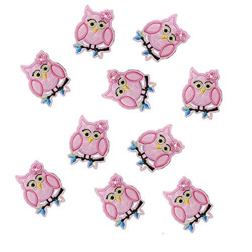 Rosa Bügelbilder Patches Süße Eule Decals DIY Kleidung Accessoires Aufnäher Handwerk Patches Jacke Jeans Gestickte Applikationen Kleidungsstück Aufkleber 10 STÜCKE Langlebig und nützlich -