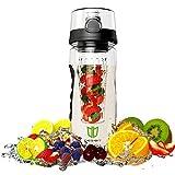 Frucht Infuser, BPA-freie Sportflasche - Wasserflasche mit Gummigriff, mit auslaufsicherer Technologie und langem Inbus