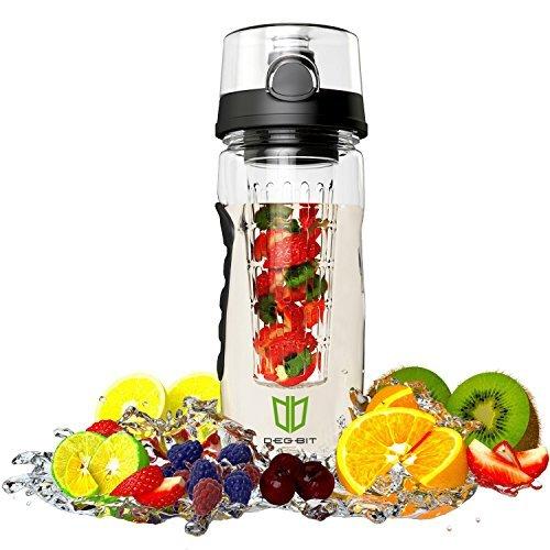 Image of Frucht Infuser, BPA-freie Sportflasche - Wasserflasche mit Gummigriff, mit auslaufsicherer Technologie und langem Inbus
