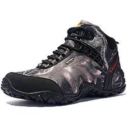 SANANG Hombres Zapatillas de deporte al aire libre Camuflaje Botas de senderismo Zapatos de trekking (42 EU, Gris)